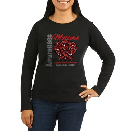 Stroke Mosaic Heart Women's Long Sleeve Dark T-Shi