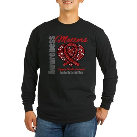 Stroke Mosaic Heart Long Sleeve Dark T-Shirt