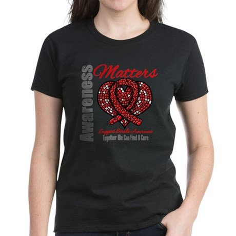 Stroke Mosaic Heart Women's Dark T-Shirt