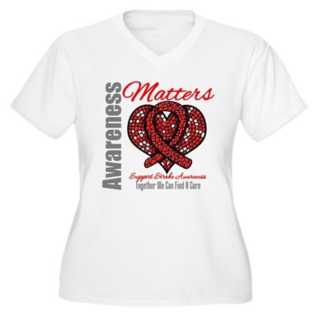 Stroke Mosaic Heart Women's Plus Size V-Neck T-Shi