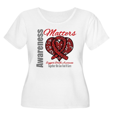 Stroke Mosaic Heart Women's Plus Size Scoop Neck T