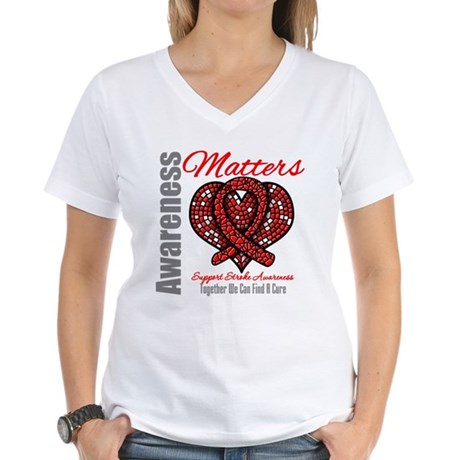 Stroke Mosaic Heart Women's V-Neck T-Shirt