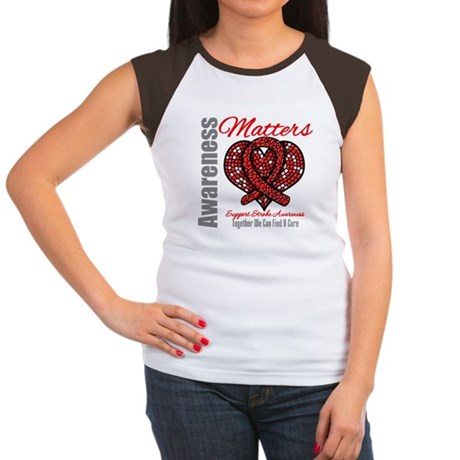 Stroke Mosaic Heart Women's Cap Sleeve T-Shirt