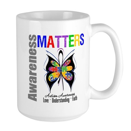Colorful Autism Butterfly Large Mug