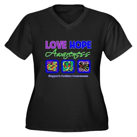 Autism Love Hope Women's Plus Size V-Neck Dark T-S