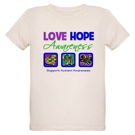 Autism Love Hope Organic Kids T-Shirt