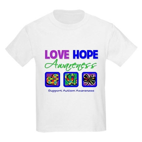 Autism Love Hope Kids Light T-Shirt