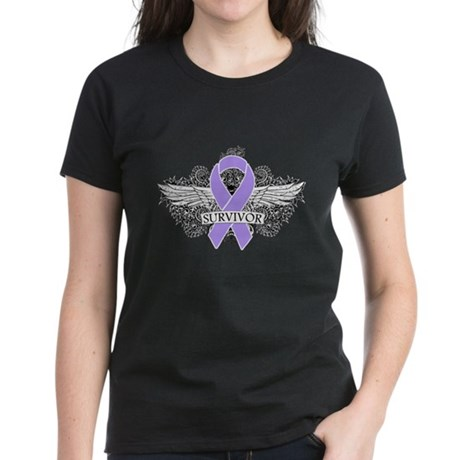 Cancer Survivor Grunge Wings Women's Dark T-Shirt