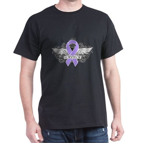 Cancer Survivor Grunge Wings Dark T-Shirt