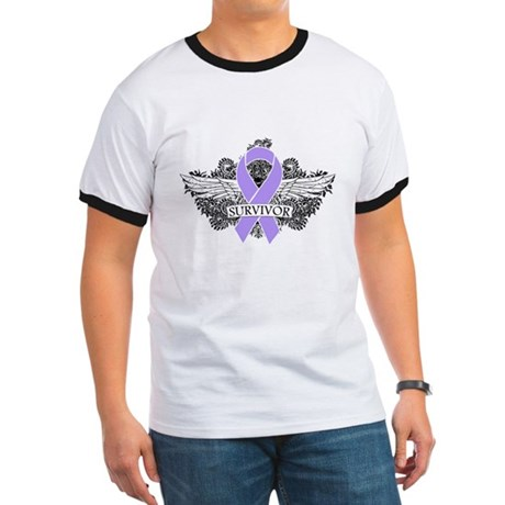 Cancer Survivor Grunge Wings Ringer T