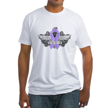 Cancer Survivor Grunge Wings Fitted T-Shirt
