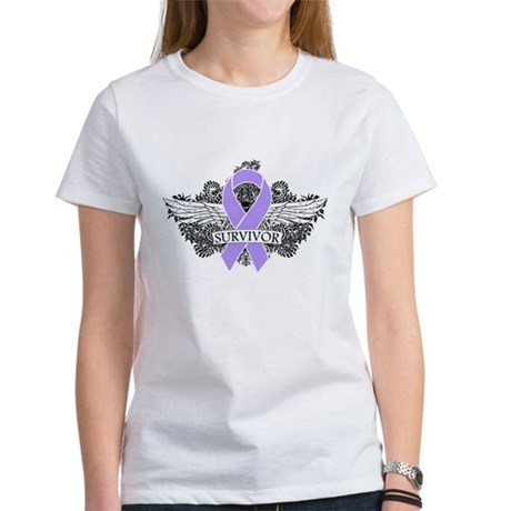 Cancer Survivor Grunge Wings Women's T-Shirt