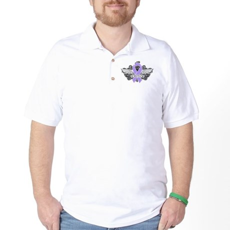 Cancer Survivor Grunge Wings Golf Shirt