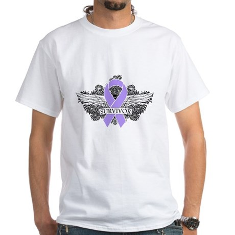 Cancer Survivor Grunge Wings White T-Shirt