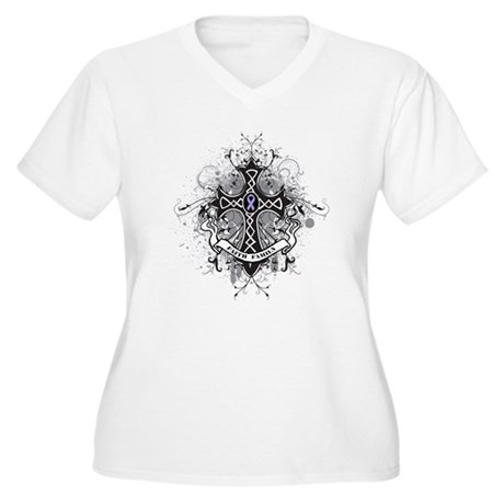 Cancer Prayer Cross Women's Plus Size V-Neck T-Shi