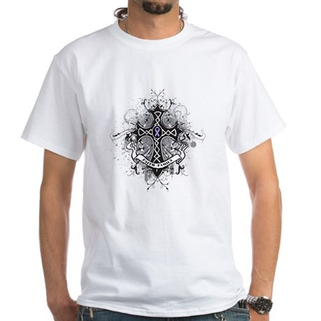 Cancer Prayer Cross White T-Shirt