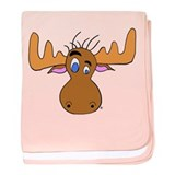 Cartoon Moose Antlers baby blanket