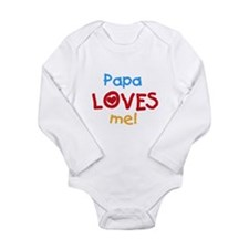 Text Papa Loves Me Long Sleeve Infant Bodysuit