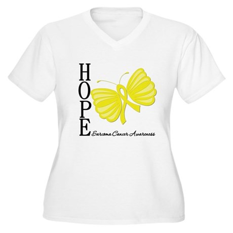 Hope Butterfly Sarcoma Women's Plus Size V-Neck T-