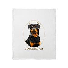 Guardian Angel Rottweiler Throw Blanket
