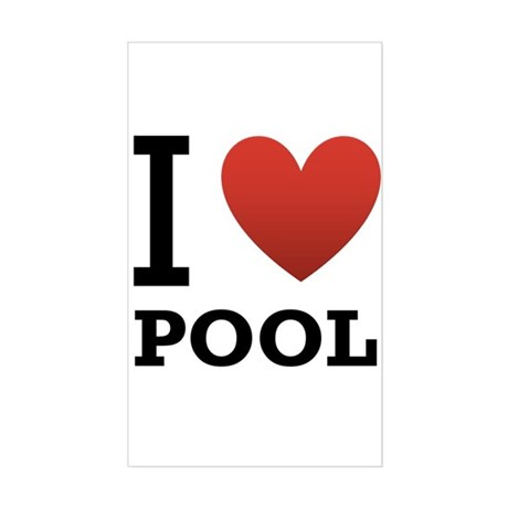 I Love Pool Sticker (Rectangle)