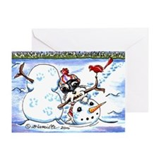 Schnauzer n Snowman Greeting Cards (Pk of 10)