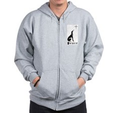 Greyhound Christmas Peace Zip Hoodie frt img