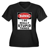 Stupid Things Women's Plus Size V-Neck Dark T-Shir