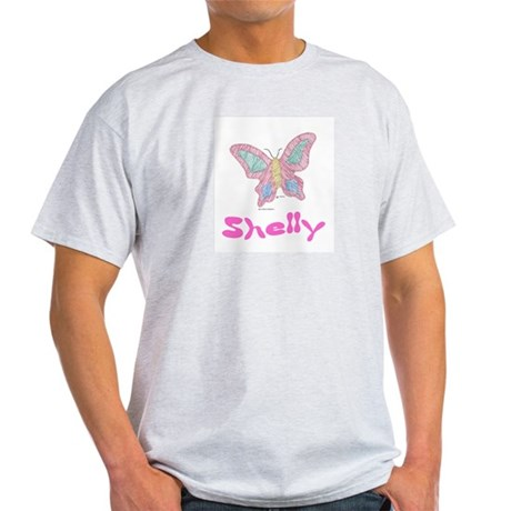 Pink Butterfly Shelly Ash Grey T-Shirt