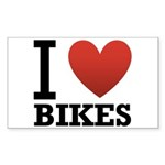 I Love Bikes Sticker (Rectangle)