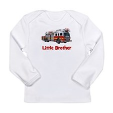 Little Brother Fire Truck Long Sleeve Infant T-Shi