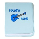 Cousins Rock! Blue Guitar baby blanket