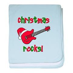 Christmas Rocks! Guitar Santa baby blanket