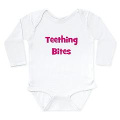 Teething Bites! Pink Long Sleeve Infant Bodysuit