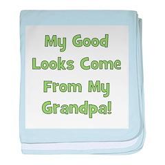 Good Looks from Grandpa - Gre baby blanket