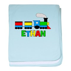 Train - ETHAN Personalized Cu baby blanket