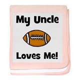 My Uncle Loves Me - Football baby blanket