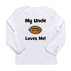 My Uncle Loves Me - Football Long Sleeve Infant T-