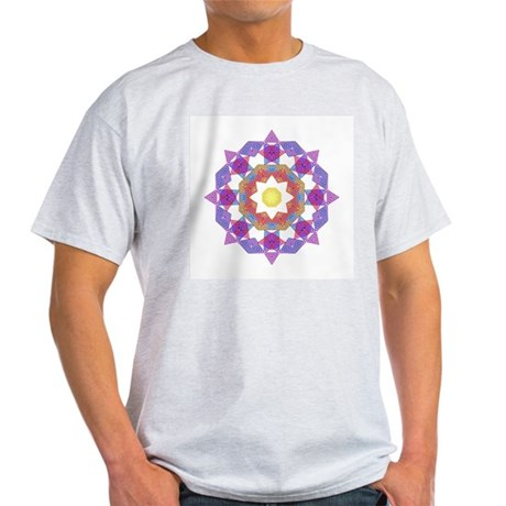 Purple Star Flower Ash Grey T-Shirt