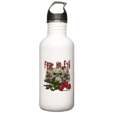 Fear No Evil Skull and Rose Stainless Water Bottle