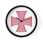 Pink Iron Cross Wall Clock