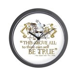 "Hamlet ""Be True"" Quote Wall Clock"