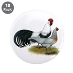 """Phoenix Silver Chickens 3.5"""" Button (10 pack)"""