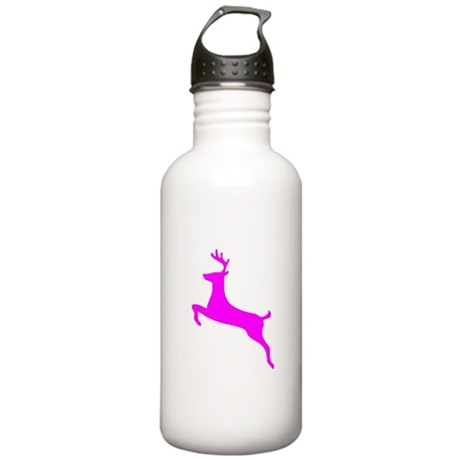 Hot Pink Leaping Deer Stainless Water Bottle 1.0L