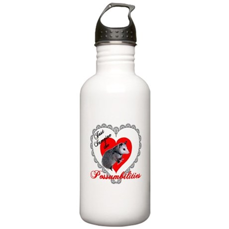 Possum Valentines Day Heart Stainless Water Bottle