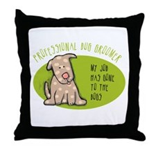 Funny Dog Groomer Throw Pillow