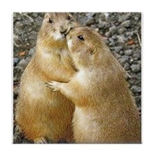 Prairie Dog Kiss Tile Coaster