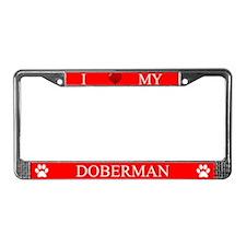 Red I Love My Doberman Frame
