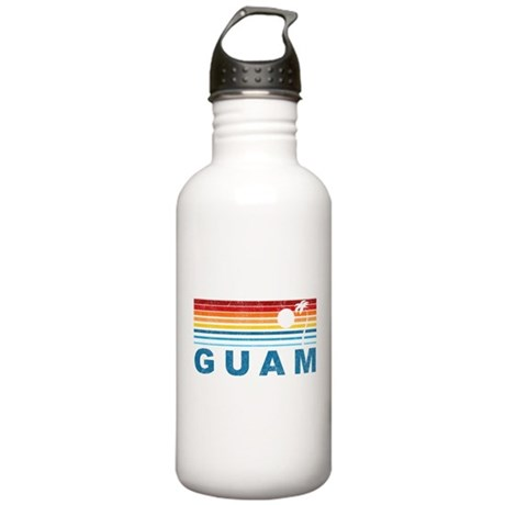 Retro Palm Tree Guam Stainless Water Bottle 1.0L