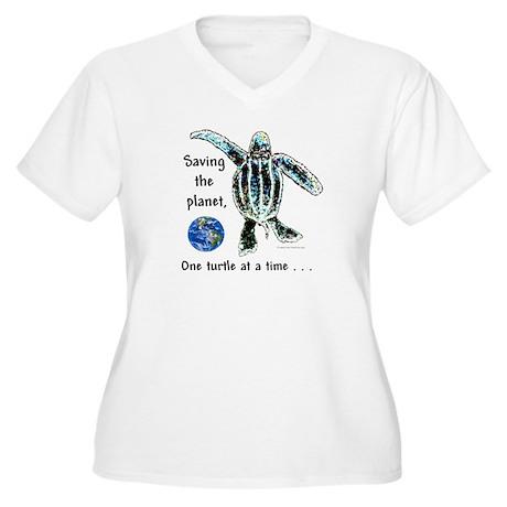 One Turtle Women's Plus Size V-Neck T-Shirt
